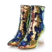 Vimisaoi Women's Sequins Ankle Booties Block Crystal High Heel Winter Boots