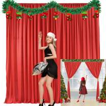 Red Backdrop Curtain for Parties Christmas Weddings Birthday Photography Drape Backdrop with Golden Curtain Tiebacks 5ft x 10ft (Pack of Two)