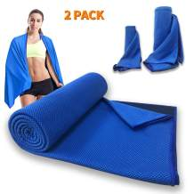 2 Pack Cool Towel Large Size Beach Towel 59.06 x 31.5 Inch Instant Cool Ice Towel Gym Quick Dry Towel Microfibre Towel Cooling Sports Towel for for Yoga Beach Travel Sports Running Camping