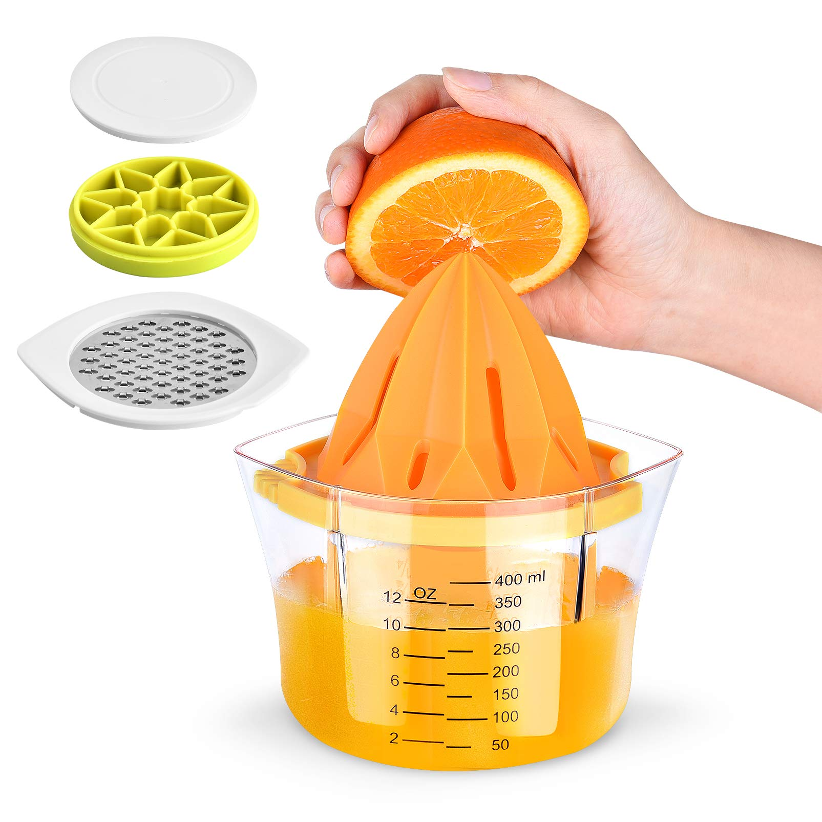 Lemon Squeezer Manual Juicer - Dual Anti-Slip Reamer Anti-corrosion Measuring Cup with Strainer & Grater & Ice Tray Orange Citrus Hand Press Juicer