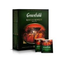 Greenfield Kenyan Sunrise Сlassic Collection Black Tea Finely Selected Speciality Tea 100 Double Chamber Teabags With Tags in Foil Sachets