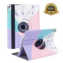 "Hsxfl New iPad Air 3 Case 2019(3rd Gen)/iPad Pro 10.5 2017 Case- 360 Degree Rotating Adjustable Multiple Stand Smart Cover Case with Auto Sleep Wake for Apple iPad 10.5"" Case (Marble)"