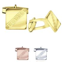 Men's Sterling Silver .925 Square Cufflinks with Satin Finish Check Accents, Engravable, 14mm. Available in Silver, Yellow Gold Plated Silver & Rose Gold Plated Silver