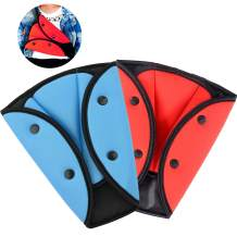 2 Pack Seatbelt Adjuster for Kids Adults, WenMei Auto Shoulder Neck Strap Adjuster, Car Seatbelt Safety Cover Triangle Positioner for Children Baby Adult, Soft and Breathable (Blue + Red)