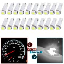 cciyu 20x Car T5 5050 1SMD Wedge Xenon White LED Light Bulbs 74 17 18 37 70 73 2721 Replacement fit for side markers, running lights, corner bumper lights, license plate lights, instrument cluster