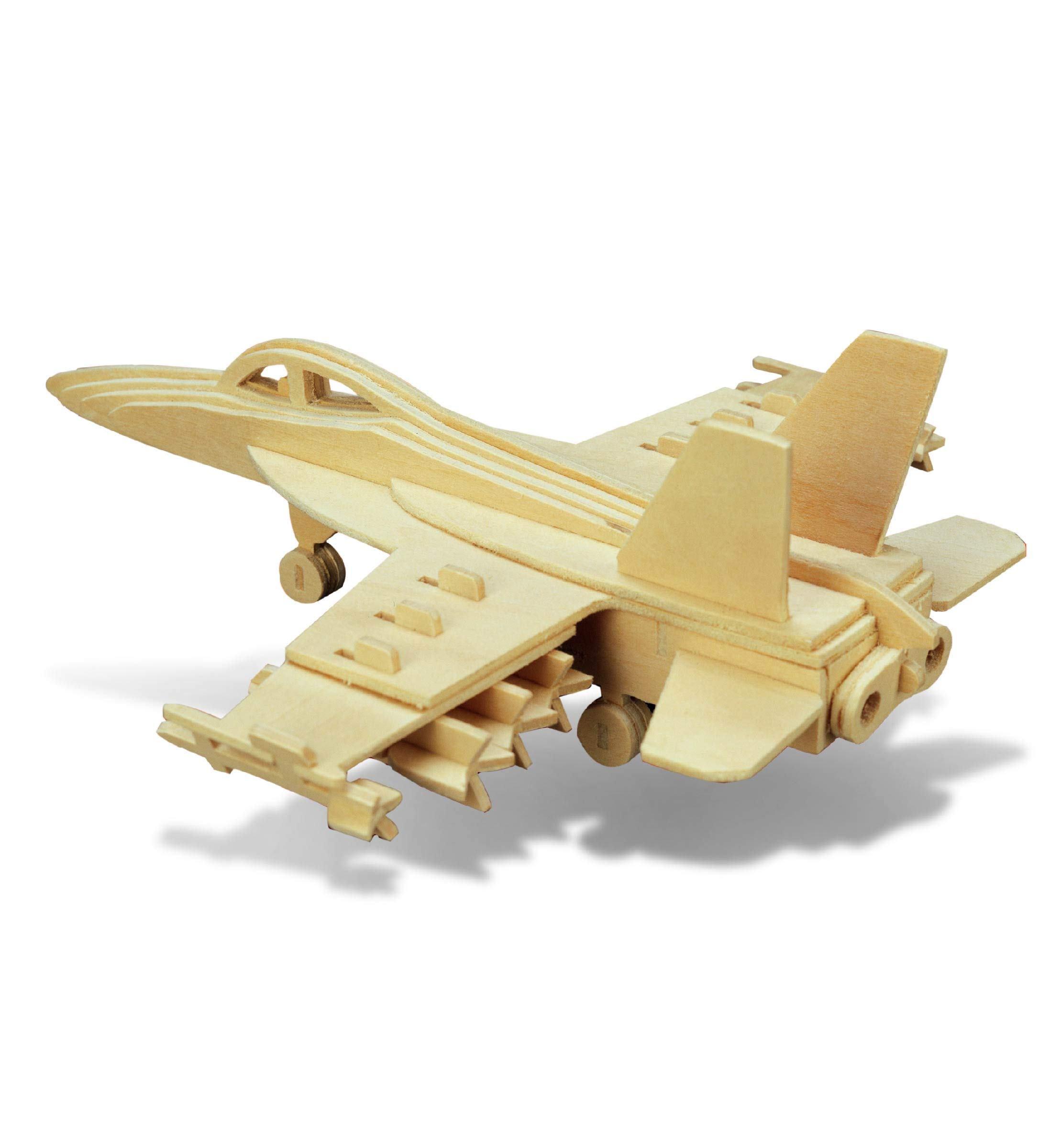 Puzzled 1239 F18 Hornet 3D Jigsaw Woodcraft Kit Puzzle, One Size, Tan (Pack of 47)
