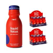 Liquid Focus by More Labs: Nootropic Smart Drink - Clinically-Proven Ingredients - Powerful Antioxidants & Adaptogenic Herbs - 150mg Caffeine - Berry Flavor - Vegan - Gluten Free (Pack of 16)