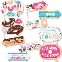 Big Dot of Happiness Funny Donut Worry, Let's Party - Doughnut Party Photo Booth Props Kit - 10 Piece