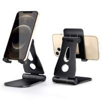 KTRIO Cell Phone Stand, Foldable & Adjustable Phone Holder, Dock, Cradle, Compatible with Phone 12 Pro Max Mini 11 Xr 8 Plus SE, Switch, Android Smartphone, Pad, Tablet, Desk Accessories, Black