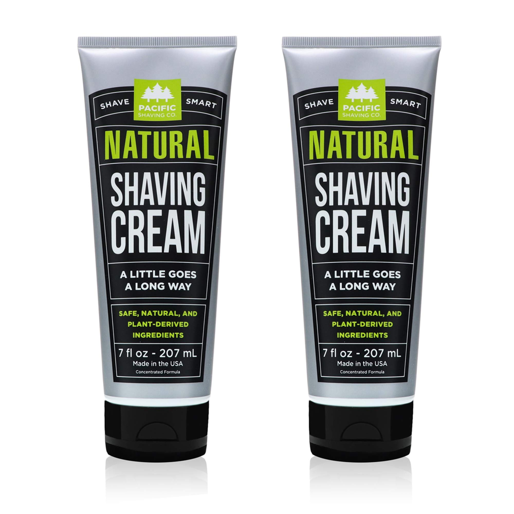 Pacific Shaving Company Natural Shave Cream - with Safe, Natural, and Plant-Derived Ingredients for a Smooth Shave, Healthy, Hydrated, Softer Skin, Less Irritation, Cruelty-Free, 7 oz (Pack of 2)