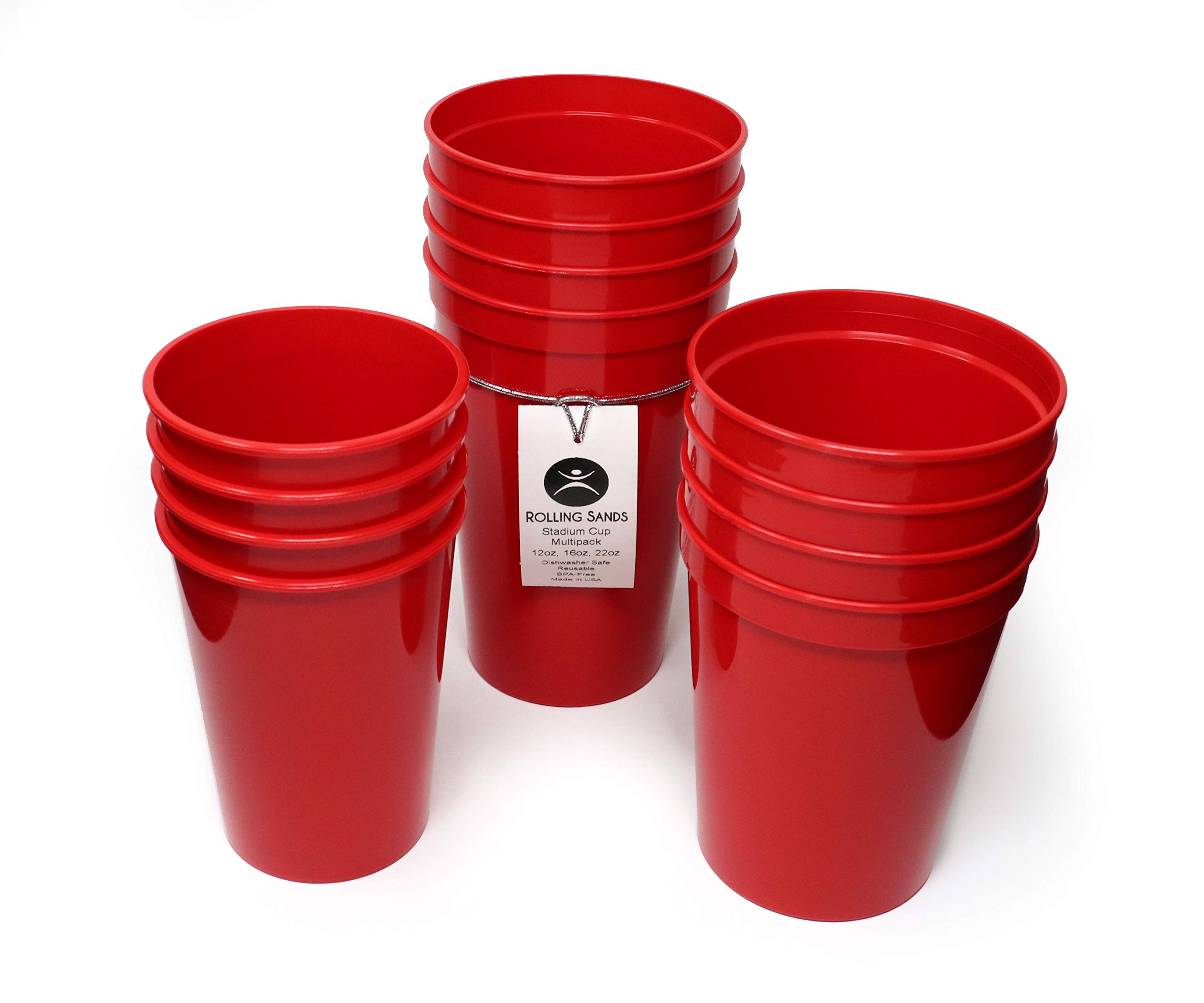 Rolling Sands 12 Pack Reusable Plastic Stadium Cups, Multipack of 3 Cup Sizes - 12oz, 16oz, 22oz – Made in USA, BPA-Free, Dishwasher Safe Plastic Tumblers - Set Includes 4 Red Cups of Each Size