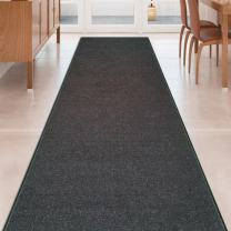 Black Solid Plain Rubber Backed Non-Slip Hallway Stair Kitchen Runner Rug Carpet 31in X 15ft