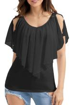 Hount Womans Summer V Neck Cold Shoulder Chiffon Tops and Blouses