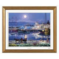 Cao Yong Print Artwork - Licensed Copy of CAO Youg Masterpiece - (Full Moon) Decorative Painting with Solid Wood Frame, Wall Art Decor Poster for Home and Office