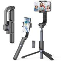 Obudyard Gimbal Stabilizer for Smartphone with Extendable Bluetooth Selfie Stick and Tripod, 1-Axis Multifunction Remote 360°Automatic Rotation, Auto Balance iPhone/Android