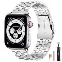 Hallsen Compatible with Apple Watch Bands 44mm 42mm, Upgraded Solid Stainless Steel Metal Strap for iWatch Bands Replacement for Apple Watch Band Series 6/5/4/3/2/1/SE