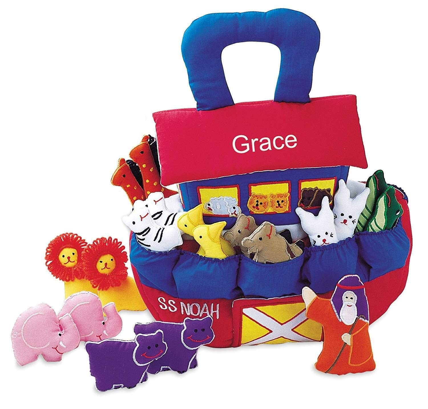 Pockets of Learning Personalized Noah's Ark Soft Play Set for Toddlers and Children, Fabric Activity, Cloth Pretend Bible Play Toy