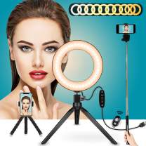 """LED Light Stand 6"""",Selfie Ring Light with Tripod Stand & Phone Holder Camera Light Desktop Lamp Dimmable 5 Colors & 11 Level Brightness for Makeup,YouTube Video Light with Bluetooth Remote Shutter"""