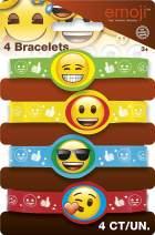Emoji Party Supplies - Emoji Rubber Bracelet Party Favors, 4ct