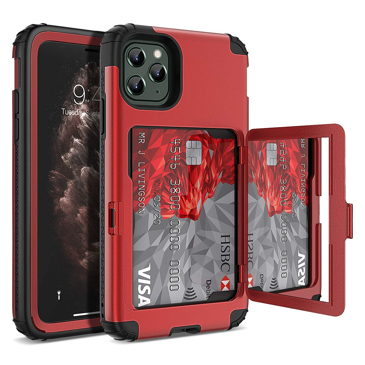 iPhone 11 Pro Max Wallet Case, WeLoveCase Defender Wallet Card Holder Cover with Hidden Mirror Three Layer Shockproof Heavy Duty Protection All-Round Armor Protective Case for iPhone 11 Pro Max Red