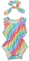 UNICOMIDEA Baby Girls Rompers Newborn Sleeveless One-Pieces Jumpsuits Pom Pom Onesie with Headband 0-18 Months