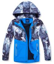 YILLEU Boys Girls Rain Jackets Hooded Fleece Lined Waterproof Lightweight Coats Windbreakers Raincoats for Kids