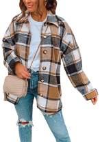 OMZIN Women's Casual Plaid Flannel Outwear Shirts Drop Sleeve Oversized Color Block Coat