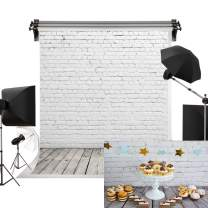 Kate 5x7ft/1.5m(W) x2.2m(H) Grey White Brick Wall Background Retro Wooden Floor Photo Studio Backdrop Portrait Photography Prop