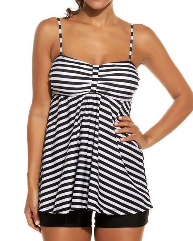 LAPAYA Women's Tankini Swimsuit Set 2 Pieces Striped Tank Top Boyshorts Bottom Bathing Suit