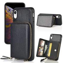 LAMEEKU iPhone XR Zipper Wallet Case, iPhone XR Wallet Case, iPhone XR Card Holder Case with Crossbody Chain Wrist Strap, Leather Credit Card Slot Protective Cover for iPhone XR-Black