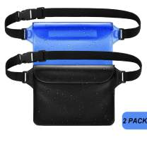 GLBSUNION Waterproof Pouch Dry Bag with Waist Strap (2 Pack), Best Way to Keep Your Phone and Valuables Safe/Dry, Perfect for Boating Swimming Snorkeling Kayaking Beach Pool Fishing Water Parks