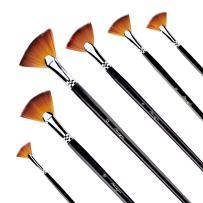 AMAGIC Fan Brush Set- Artist Soft Anti-Shedding Nylon Hair Paint Brushes for Acrylic Watercolor Oil Painting - Long Wood Handle with Storage Case, Set of 6