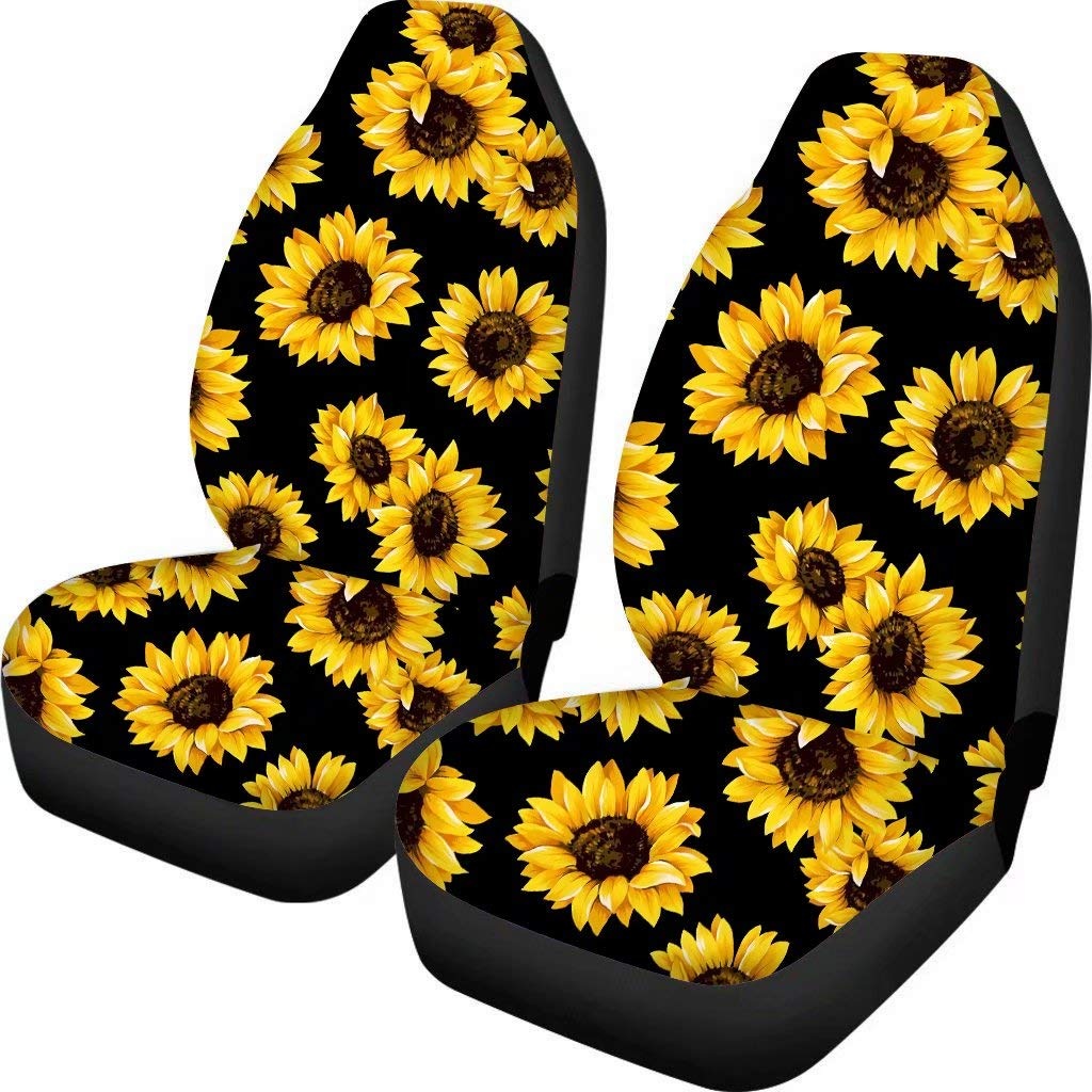 FOR U DESIGNS Sunflower Printed Front Seat Covers 2 pcs, Vehicle Seat Protector Car Mat Covers, Fit Most Cars, Sedan, SUV, Van