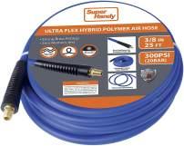 "SuperHandy Air Hose 3/8"" Inch x 25' Feet Long Heavy Duty Industrial Premium Commercial Ultra Flexible Hybrid Polymer Hose Max Pressure 300 PSI/20 BAR Inside Diameter 0.375"" Inch"