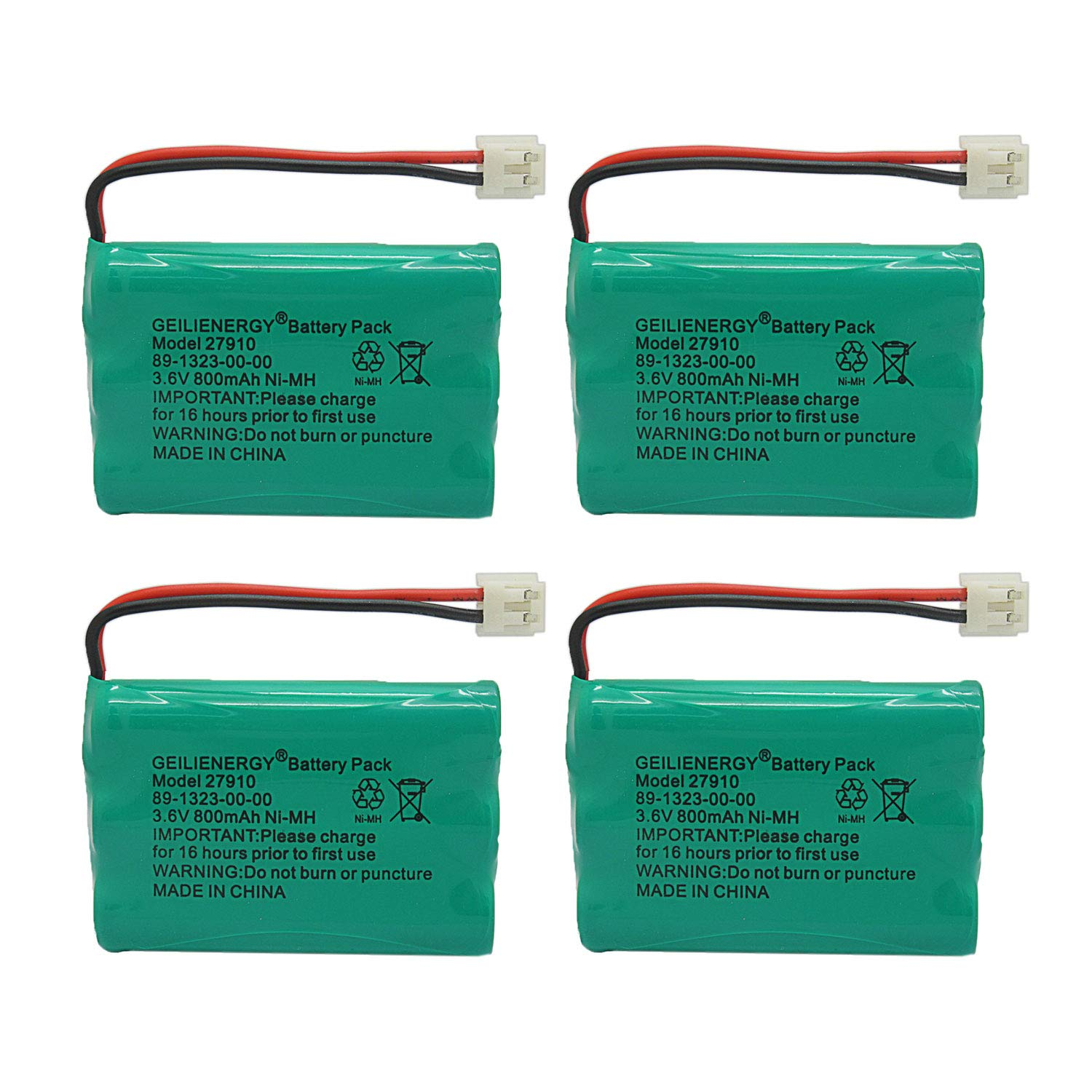 GEILIENERGY 27910 Cordless Phone Battery Rechargeable Compatible with Vtech 89-1323-00-00 AT&T E1112 E2801 TL72108 Motorola SD-7501 RadioShack 23-959 Cordless Handsets(Pack of 4)