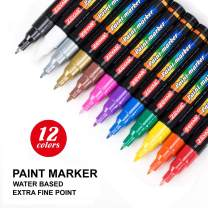 ZEYAR Acrylic Paint Marker Pens, Extra Fine Point, Nylon Tip, 12 colors, Expert of rock painting, Water and Fade Resistant, Non-toxic