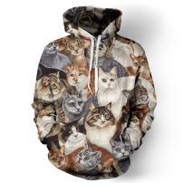 NEWCOSPLAY Unisex Realistic 3D Digital Print Pullover Hoodie Hooded Sweatshirt Cat