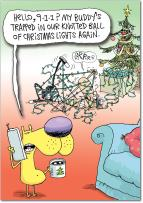 Tangled Lights - Pack of 12 Funny Merry Christmas Cards with Envelopes (4.63 x 6.75 Inch) - Cute Dog and Dad Cartoon - Hilarious Boxed Xmas Greeting Cards for Men, Fathers - Stationery Set B5839