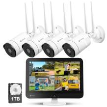 """[8CH Expandable] Kittyhok All in One 2K Wireless Security Camera System with 12"""" HD Monitor, 4Pcs 3MP IP Surveillance Camera with 2 Way Audio, Remote View, 24/7 Recording, 1TB HDD"""