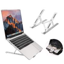 Coomaxx Portable laptop stand, Aluminum Foldable Holder, 6 levels Height & Angle Adjustable,MacBook Stand Portable,Universal Desktop Stand Holder , Compatible with 7~15.4 inch tablet,Macbook,Notebook-