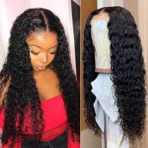 Brazilian Deep Wave Wet and Wavy Human Hair Wigs 150%Density For Women Brazilian Deep Wave Human Hair Lace Frontal Wigs Deep Water Wave Lace Front Wigs With Baby Hair Pre Plucked 9A Grade Virgin24inch