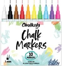 1mm Extra Fine Tip Chalk Markers (10 Pack) Neon Color Chalk pens | Non-Toxic, Wet Wipe | For Blackboards, Chalkboard, Window, Glass, Bistro Menu
