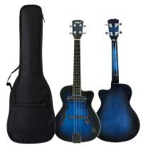 Aiersi Cutway Arch Body Electric Jazz Ukulele With Padding bag and Capo (Blueburst)