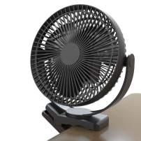 Clip Fan Battery Operated, 8 Inch 10000mAh Rechargeable Fan for Baby, 4 Speeds & 10W Fast Charging, Portable Cooling USB Fan for Baby Stroller Golf Cart Car Gym Treadmill,2 in 1 Desk&Clip Fan-Black