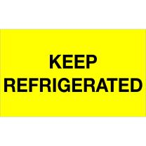 """BOX USA BDL1115 Tape Logic Climate Labels,""""Keep Refrigerated"""", 3"""" x 5"""", Fluorescent Yellow (Pack of 500)"""