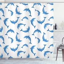 "Ambesonne Sea Animals Shower Curtain, Pattern with Dolphins Illustration Ornamental Nature Under The Sea Wildlife, Cloth Fabric Bathroom Decor Set with Hooks, 84"" Long Extra, White Blue"