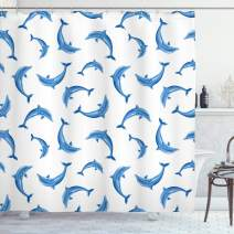 """Ambesonne Sea Animals Shower Curtain, Pattern with Dolphins Illustration Ornamental Nature Under The Sea Wildlife, Cloth Fabric Bathroom Decor Set with Hooks, 84"""" Long Extra, White Blue"""