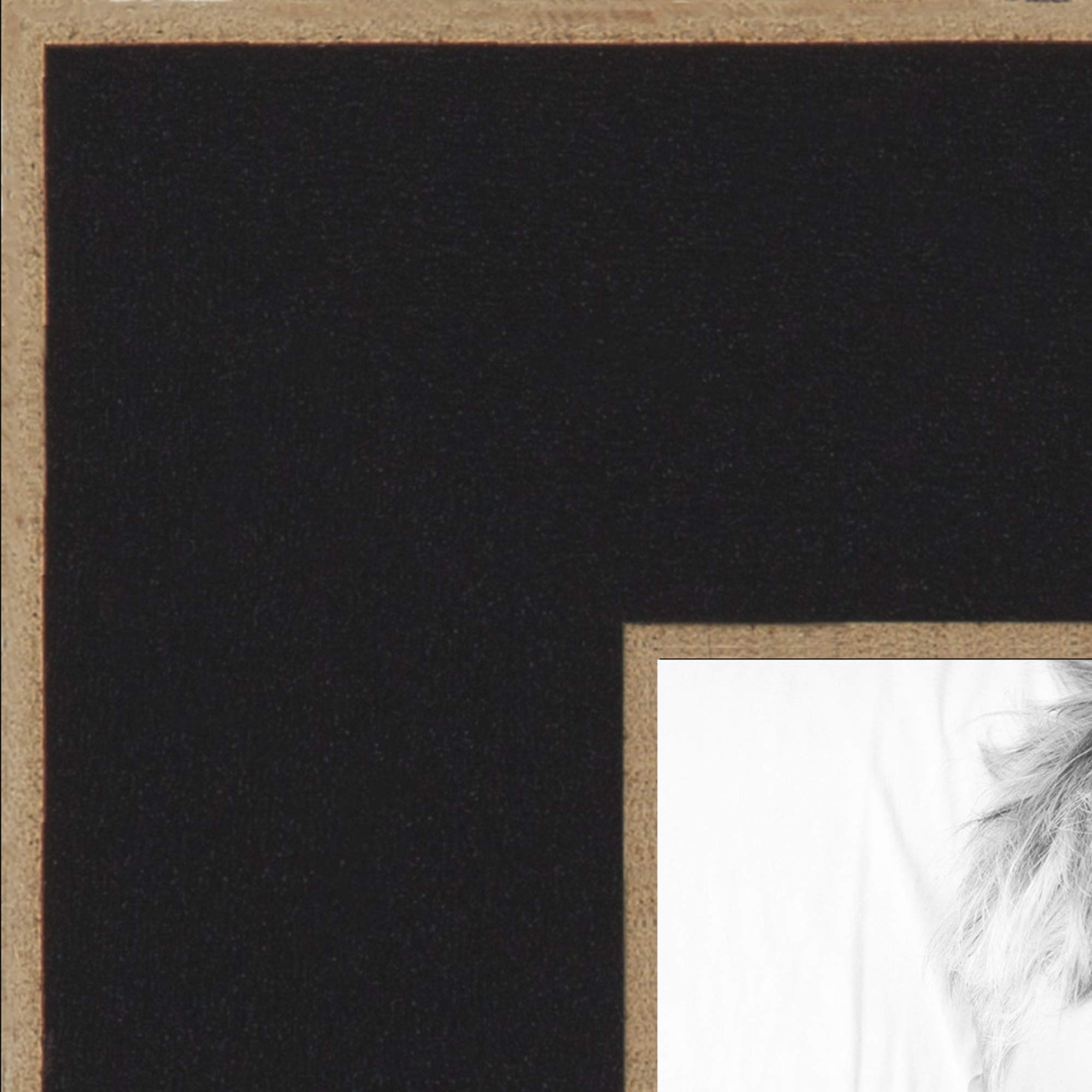ArtToFrames 14x23 inch Black Satin with Raw Edges Picture Frame, 2WOM0066-76808-890R-14x23
