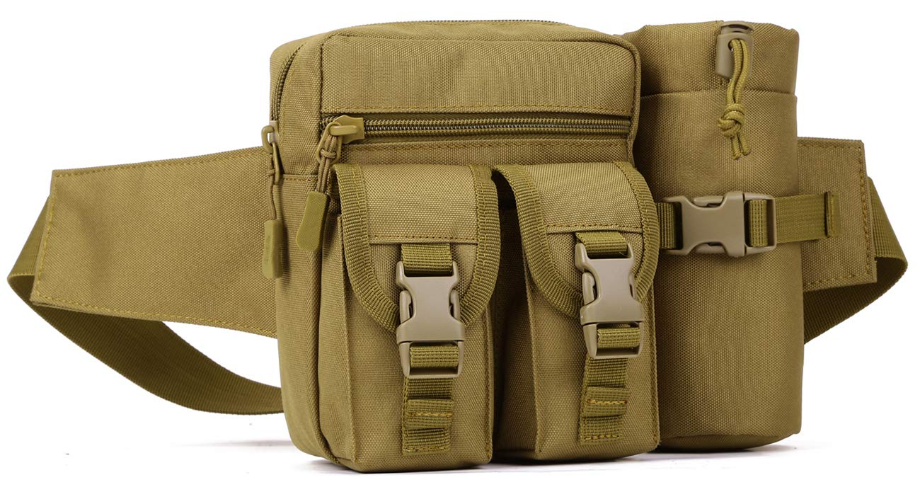 Tactical Waist Pack Fanny Packs Military Waist Bag with Water Bottle Holder Cycling Camping Hiking Hunting Fishing