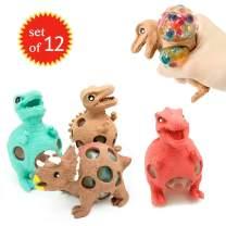 EUYZOU Anti Stress Squishy Multicolored Hand Exercise DNA Ball, 12 pk Animal Stress Balls, ADHD Fidget Toys Set, Gifts for Kids - Dinosaur